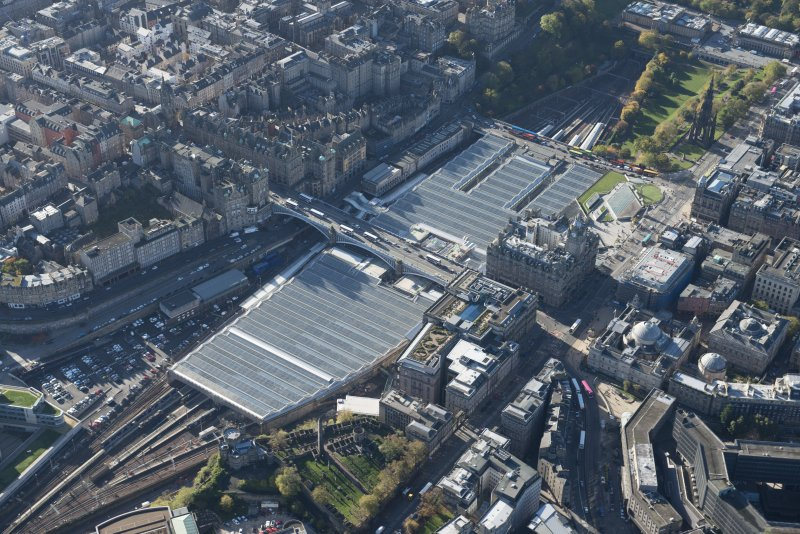 Oblique aerial view of Waverley Station and Balmoral Hotel, looking to the WSW.