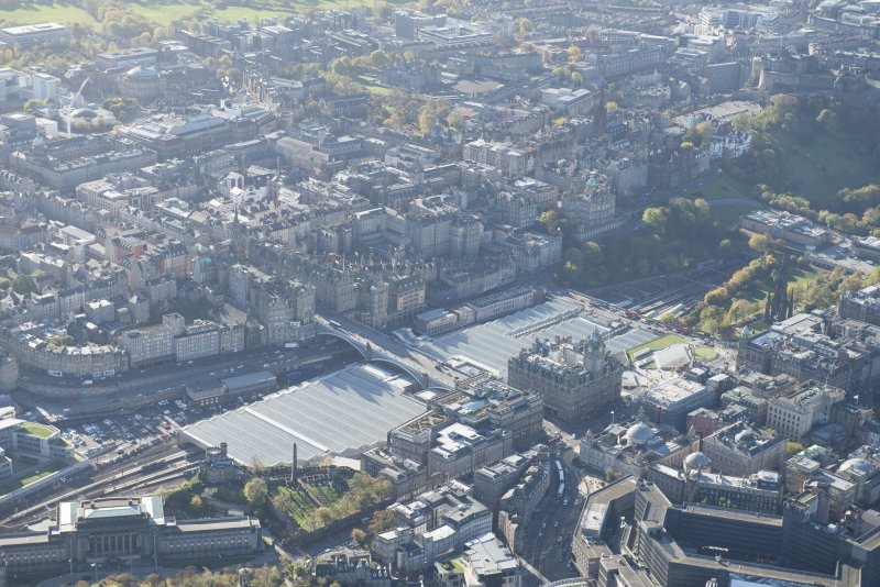 Oblique aerial view of Waverley Station and Balmoral Hotel, looking to the SW.