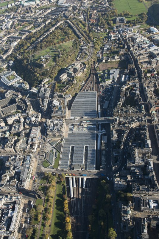 Oblique aerial view of Waverley Station and Balmoral Hotel, looking to the ENE.