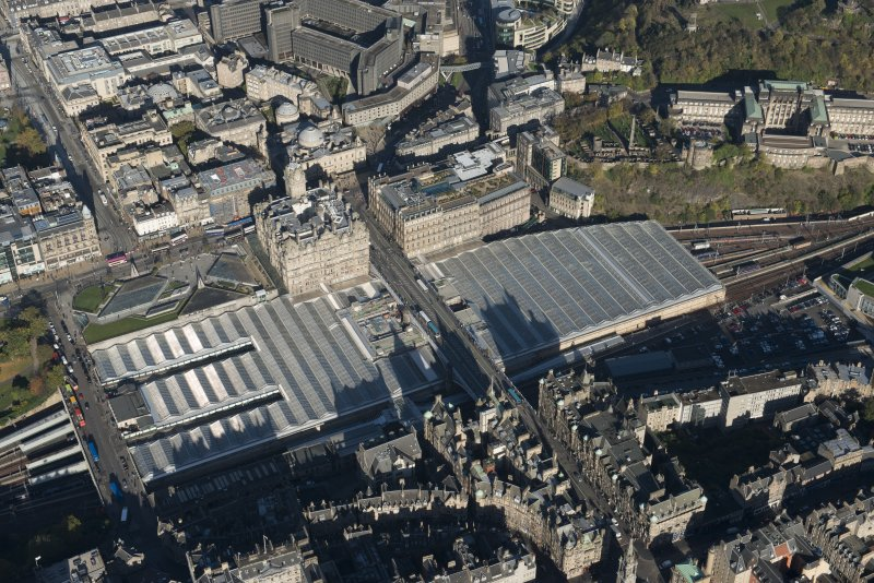 Oblique aerial view of Waverley Station and Balmoral Hotel, looking to the NE.