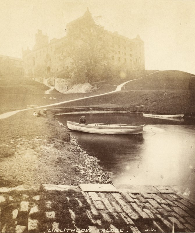 View of palace with man in rowing boat in foreground. Titled: 'Linlithgow Palace. J.V.'. PHOTOGRAPH ALBUM NO 33: COURTAULD ALBUM