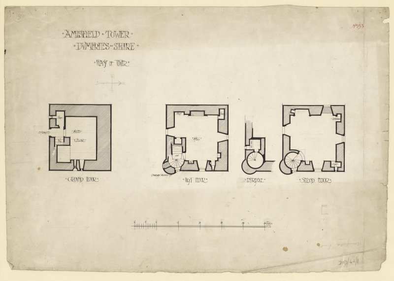 Ground, first, second and mezzanine floor plans of Amisfield Tower.