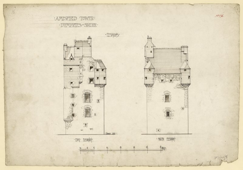 North and east elevations of Amisfield Tower.