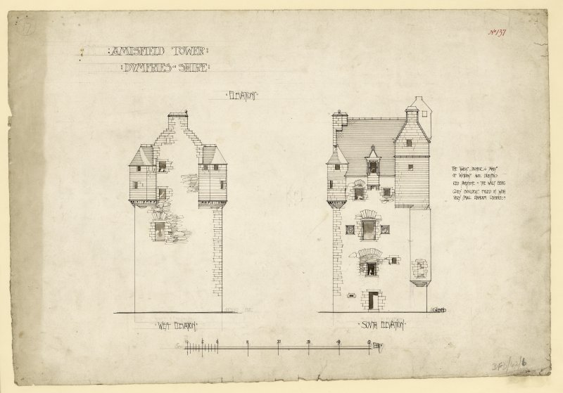 South and west elevations of Amisfield Tower.