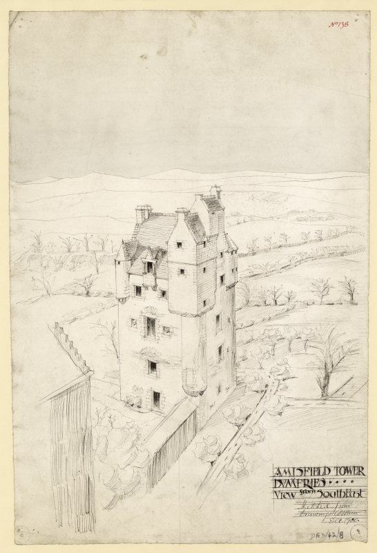 Sketch view from SE of Amisfield Tower.