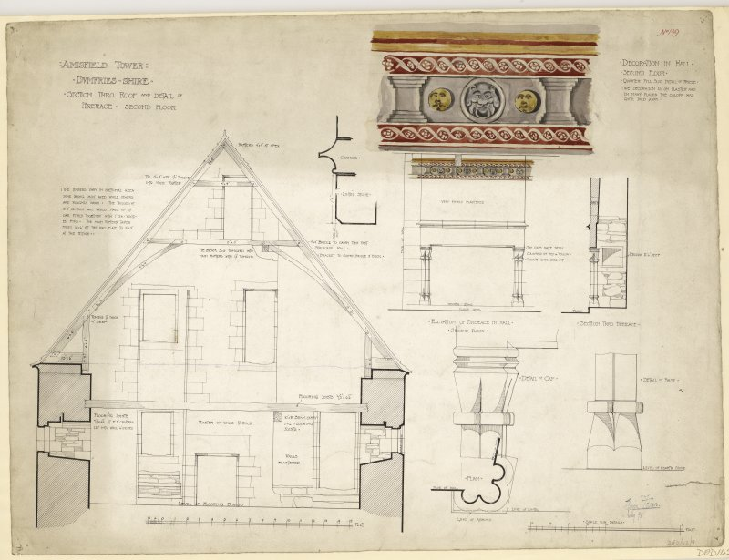 Section through roof and details of fireplace of Amisfield Tower.