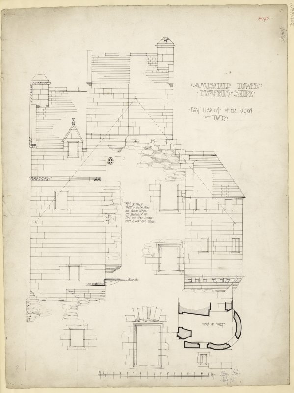 East elevation of upper part of tower and plan of turret, Amisfield Tower.