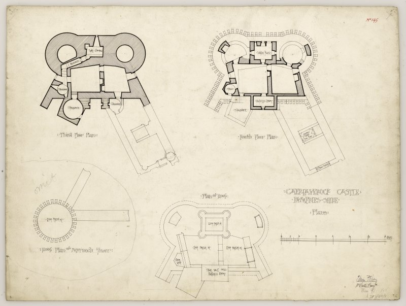 Third and fourth floor plans and roof plan of Caerlaverock Castle, and roof plan of Murdoch Tower.