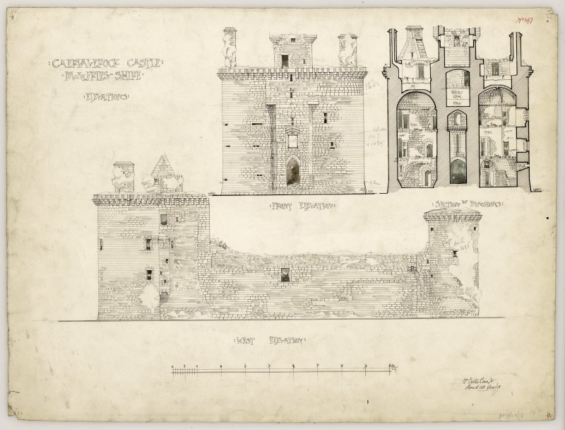 Front elevation, section through dungeons and west elevation of Caerlaverock Castle.