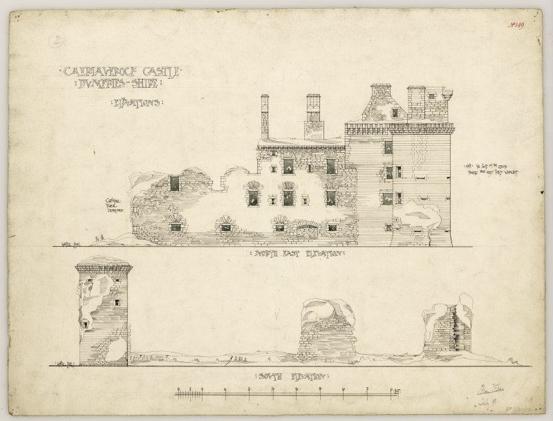 Northeast and south elevations of Caerlaverock Castle.