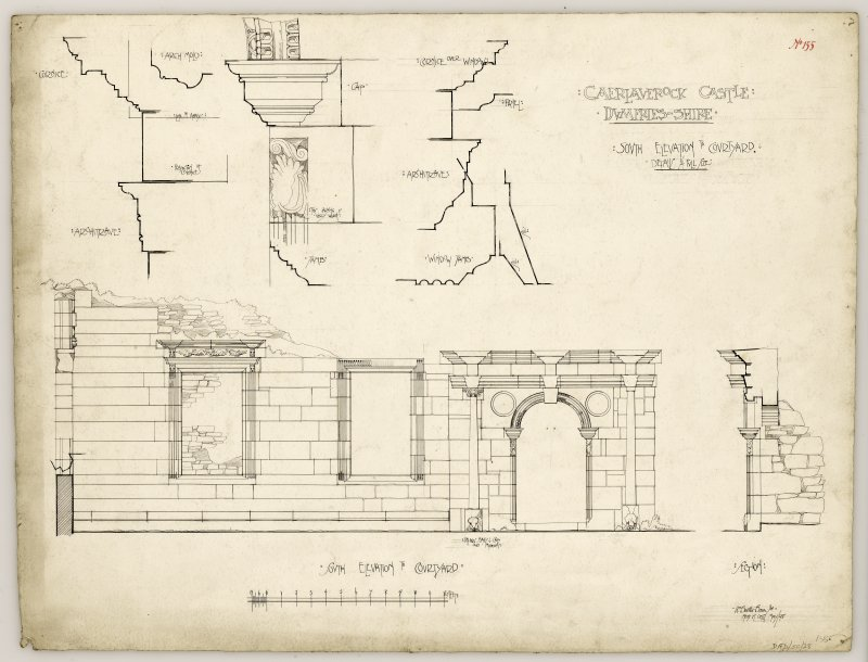 South elevation to courtyard and details of doorway and window, Caerlaverock Castle.