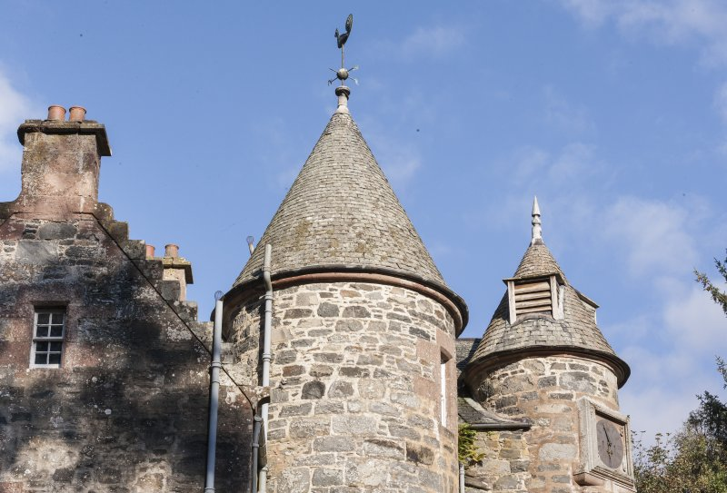 Detail of tower roofs and weather vane.