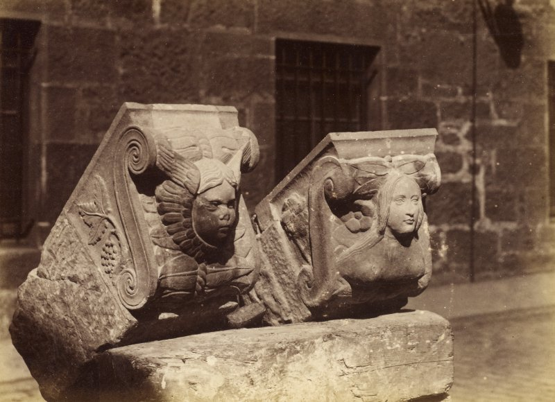 Two decorated corbels (not in situ) PHOTOGRAPH ALBUM No.72: THE NAPIER/EDINBURGH CASTLE ALBUM p.13 Album of tan morocco with stamped decoration on the back cover and a wooden front cover. Insc: (spine in gilt) 'Edinburgh Castle'