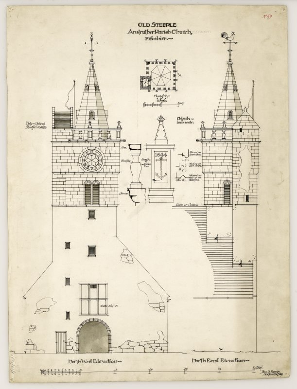 North west and north east elevations of tower, details and plan of top, St Adrian's Parish Church, Anstruther Easter.