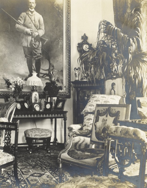 Interior view of Balmacaan House. Titled: 'The big drawing room showing father's picture'. PHOTOGRAPH ALBUM No.32: BALMACAAN ALBUM.