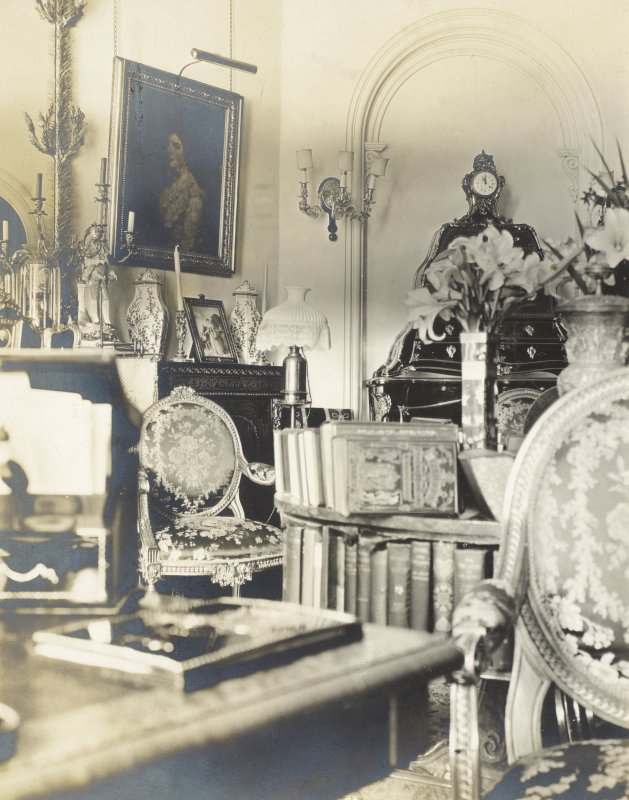 Interior view of Balmacaan House.  Titled: 'Two other views of the little drawing room'. PHOTOGRAPH ALBUM No.32: BALMACAAN ALBUM.