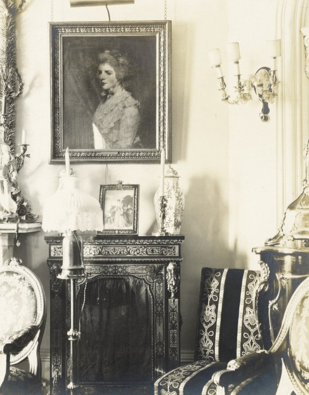 Interior view of Balmacaan House showing detail of Sir Joshua Reynolds' portrait. Titled: 'Two other views of the little drawing room.' PHOTOGRAPH ALBUM No.32: BALMACAAN ALBUM.