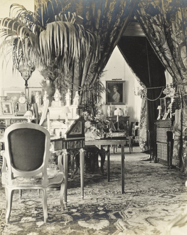 Interior view of Balmacaan House.  Titled: 'Taken from the large drawing room showing the Sir Joshua Reynolds (portrait) in the distance'. PHOTOGRAPH ALBUM No.32: BALMACAAN ALBUM.