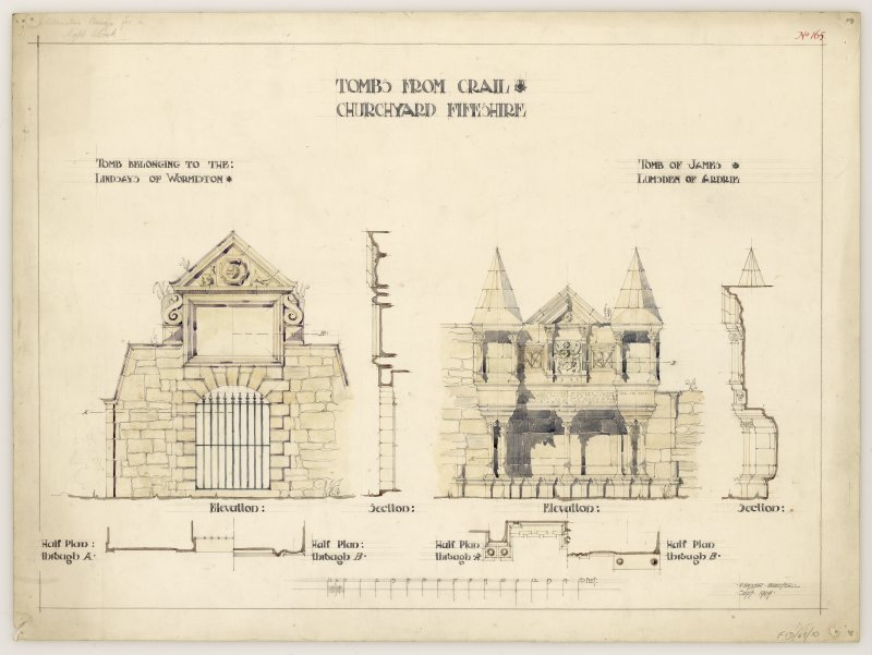Plans, sections and elevations of tombs to the Lindsays of Wormiston and James Lumsden of Airdrie 1598, Crail Churchyard.