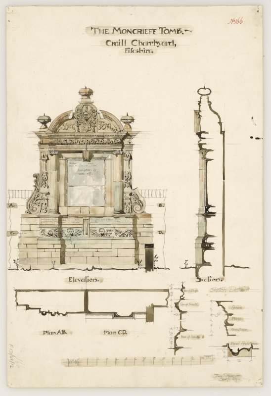 Plans, elevation, section and sketch details of the Moncrieff Tomb, Crail Churchyard.