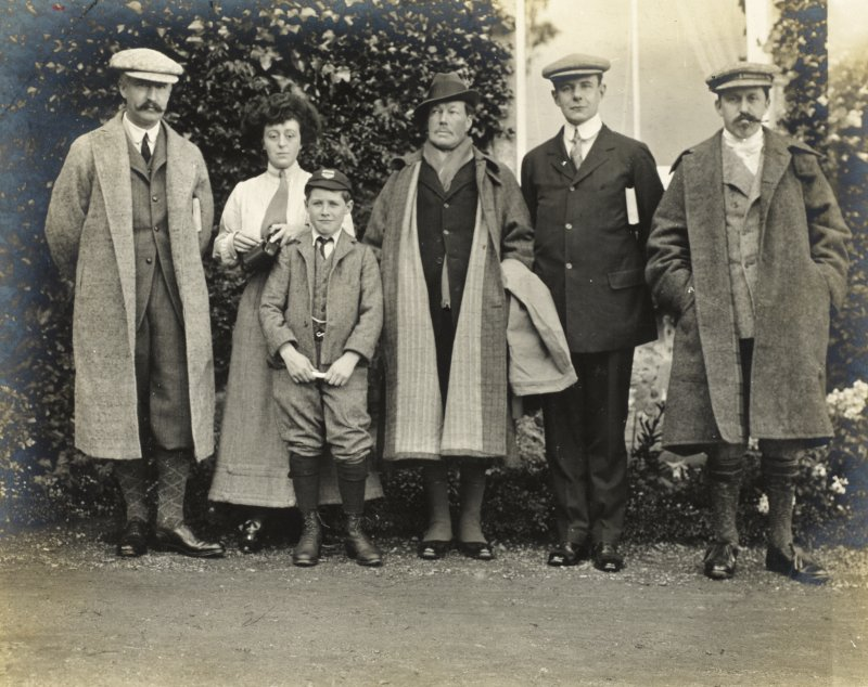 Group photograph showing family members outside Balmacaan House. Titled: 'Taken from the front door - my son; Craven' PHOTOGRAPH ALBUM No.32: BALMACAAN ALBUM.