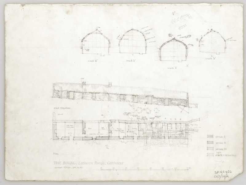 Survey drawing of cruck-framed building featuring; plan, west elevation and cruck sections; the Boual, Caithness.
