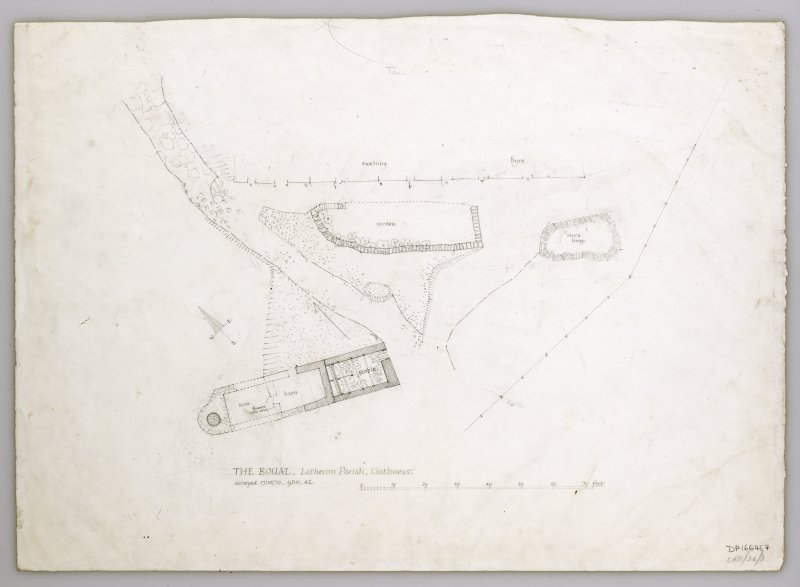Site plan including cruck-framed kiln barn at the Boul, Caithness.
