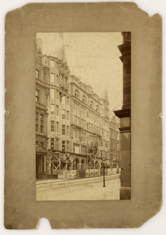 Photographic view, taken when nearing completion, annotated on reverse 'Mercantile Chambers, Bothwell Street, Glasgow, Jas. Salmon Architects'.