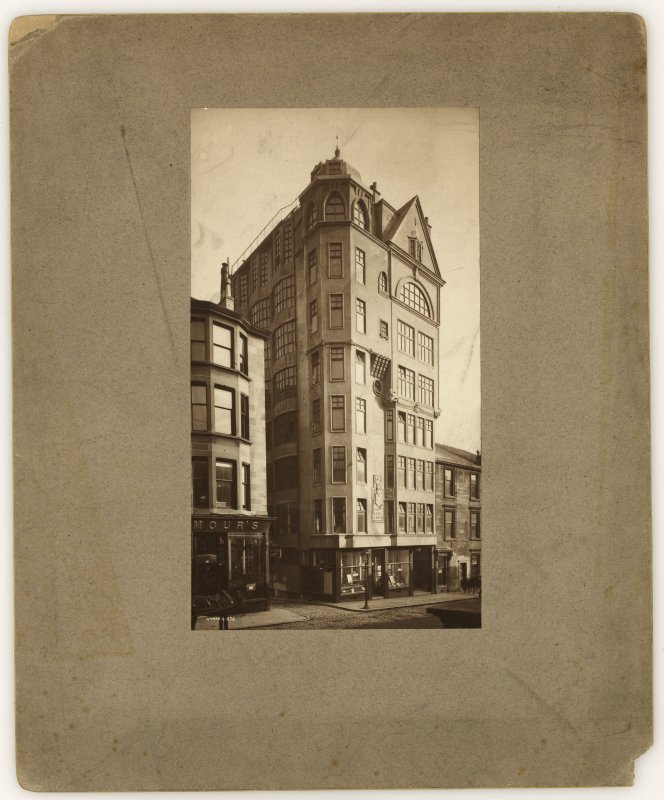 "Photographic view of front elevation. Annotated on reverse '""The Lion Chambers"" Glasgow. Signed 'Annan 6.276' and on reverse 'Salmon, Son & Gillespie, Glasgow.  Architects'."