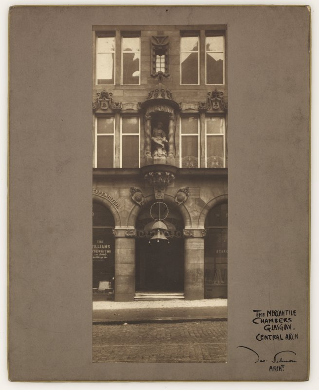 Photographic view, annotated 'The Mercantile Chambers, Glasgow.  Central Arch' and on reverse 'The Mercantile Chambers Glasgow.  53 Bothwell Street.  5 Figures by F. Derwent Wood, R.A.' Signed 'Jas. Salmon Architect' and on reverse 'James Salmon, F.R.I.B.A.'