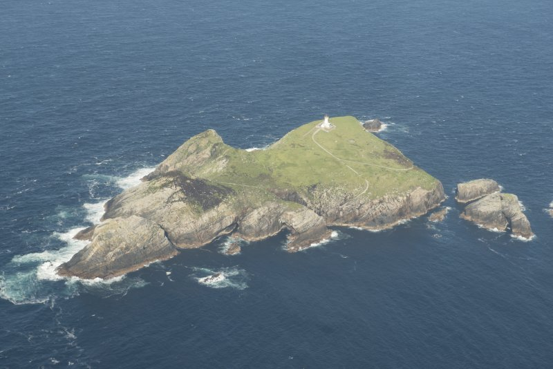 Oblique aerial view of Eilean Mor, Flannan Isles, looking to the NE.