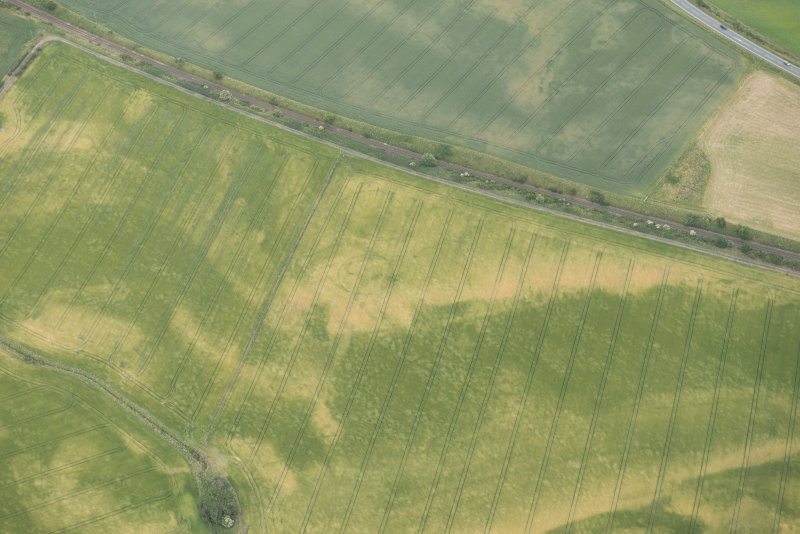 Oblique aerial view of the cropmarks of the palisaded enclosures and round house, looking ESE.