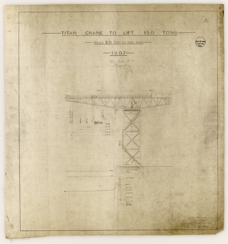Elevation, specification details of John Brown Shipyard Cantilever Crane Insc: 'Titan Crane to lift 150 Tons...Est.[imate] No. None Job No. 390 1906' See MS/744/7/6 Signed: 'Civil Engineering Dept.'