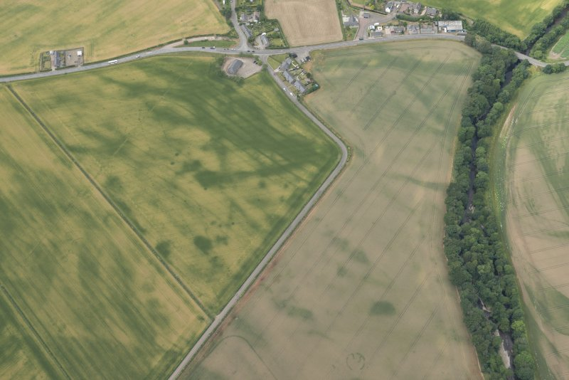Oblique aerial view of the cropmarks at Inchbare, looking W.
