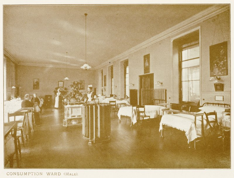 Photograph of Longmore Hospital. Insc: ''Consumption Ward (Male).''