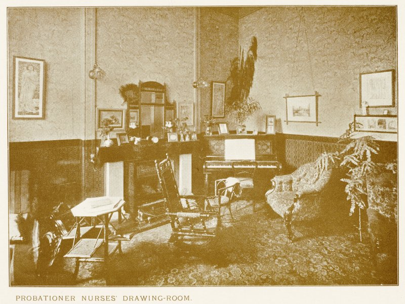 Photograph of Longmore Hospital. Insc: ''Probationer Nurses' Drawing-Room.''