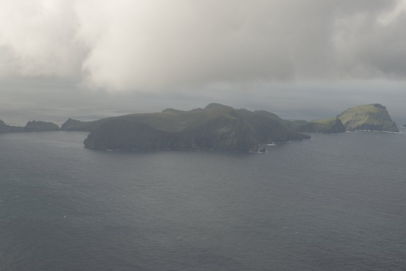 General oblique aerial view of Hirta and Soay, St Kilda, looking to the SW.