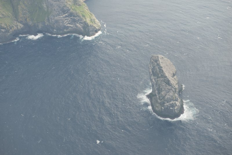 Oblique aerial view of Stac Lee, St Kilda, looking to the SE.