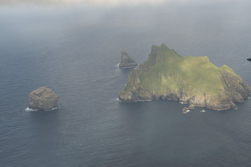 General oblique aerial view of Stac Lee, Stac an Armin and Boreray, St Kilda, looking to the E.