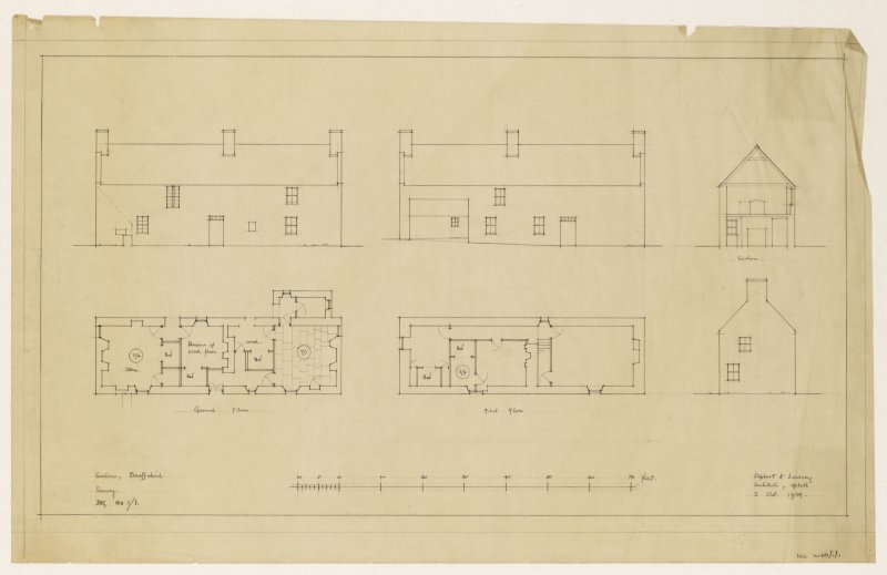 Ground and first floor plans, front and rear elevations and section.