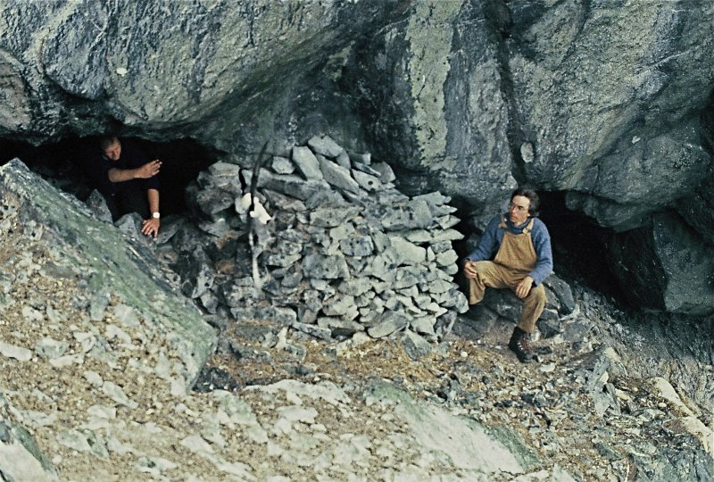 P Moore and R Simpson at the bothy, Stac Lee.