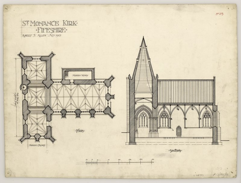Plan and section of St Monance Church.