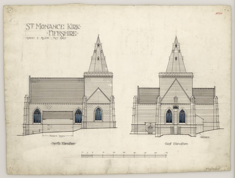 North and East elevation of St Monance Church.