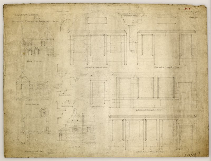 Plan, north, south and west elevations, interior elevations and details of presbytery room, Dalgety Church.