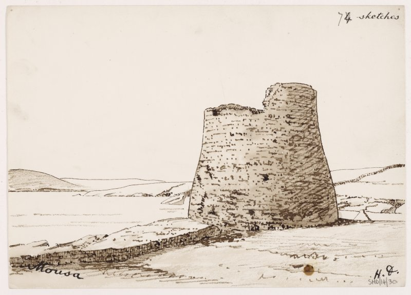 Sketch of exterior of Broch of Mousa.