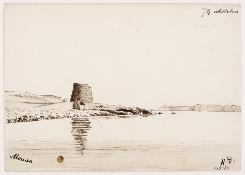 Sketch, general view from N, copied by Dryden 1868 from watercolour by him 1852