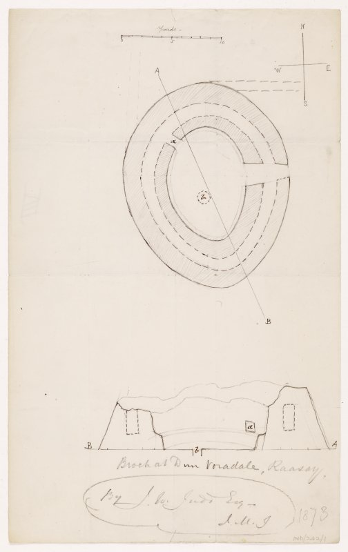 Plan and section of 'Broch at Dun Voradale'  from NE.