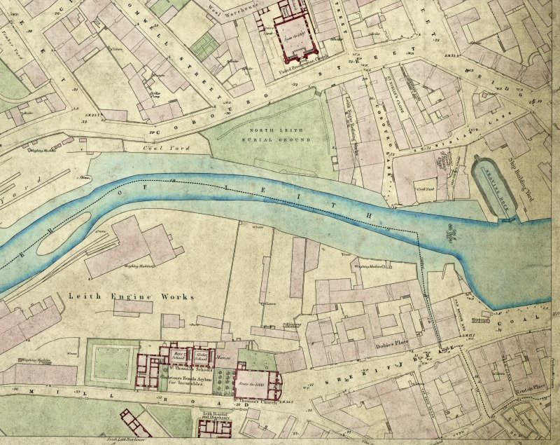 Extract from the 1:500  scale Ordnance Survey map of Edinburgh and its Environs, sheet 12 (1853) annotated with the positions of the medieval bridge over the Water of Leith (NT27NE 7) and St. Ninian's ...