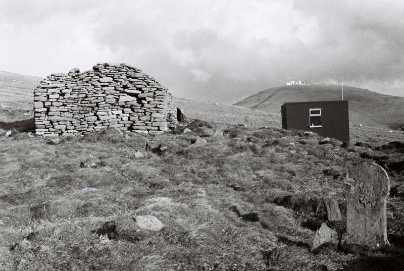 Church, SMRU hut & lighthouse, 1981.