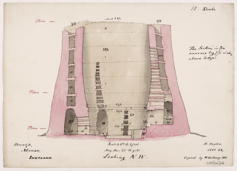 Section through Broch of Mousa wall.